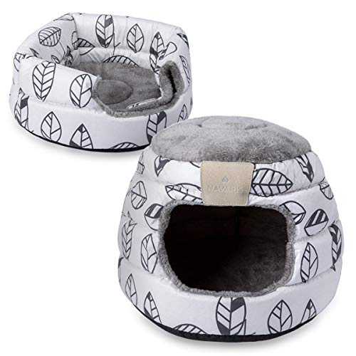 Navaris Soft Cat Bed and Igloo - 2-in-1 Collapsible Cosy Cat Cave, Igloo, House and Bed - Plush Indoor Pet Bedding for Cats to Hideout, Nest and Sleep