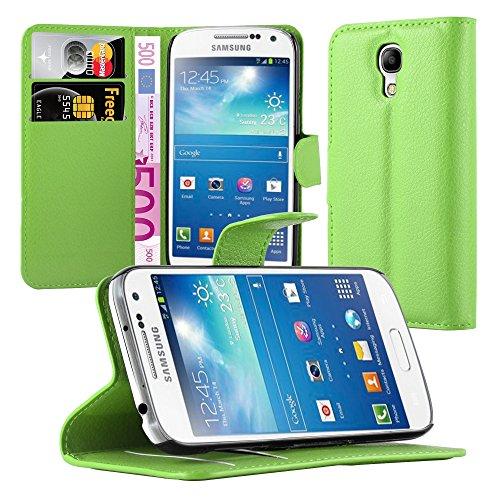 Cadorabo Hülle für Samsung Galaxy S4 Mini - Hülle in MINZ GRÜN – Handyhülle mit Kartenfach und Standfunktion - Case Cover Schutzhülle Etui Tasche Book Klapp Style