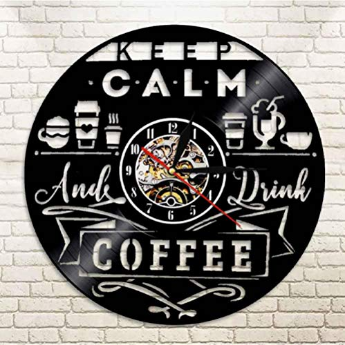 WYJIE Schallplatte Wanduhr Classic Coffee House Logo Wandschild Uhr Barista Art Coffee Shop Cafe Dekor