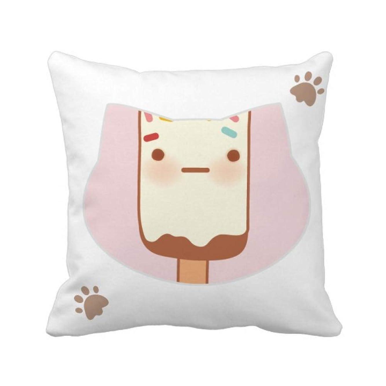 ライオネルグリーンストリート整然とした拮抗する顔の表情のチョコレートアイスクリーム 枕カバーを放り投げる猫広場 50cm x 50cm