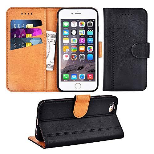 Adicase iPhone 6 Hülle Leder Wallet Tasche Flip Case Handyhülle Schutzhülle für Apple iPhone 6 / 6S 4,7 Zoll (Schwarz)