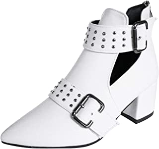 Kauneus Pointed Toe Boots for Women Studded Buckle Strap Back Zipper Chunky Mid Heel Leather Boot Vintage Ankle Booties