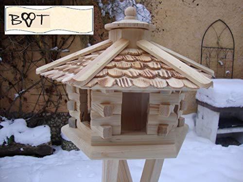 BTV Vogelhaus, Futterhaus, Holz massiv, Natur-Vogelhäuser in PREMIUMQUALITÄT, Vogelfutterhaus in Größe 44 cm ngOS