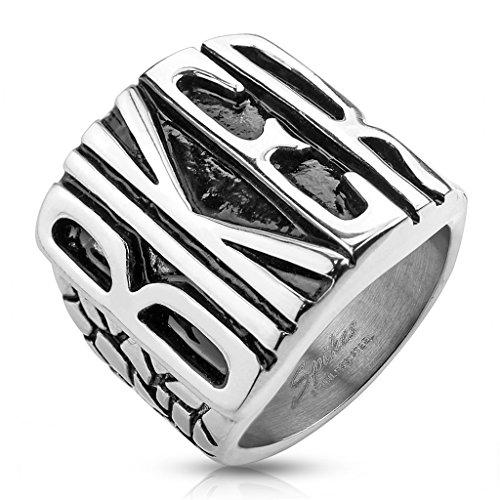 BlackAmazement Edelstahl Ring Biker Massiv Rocker Chopper Motorrad Metal Silber Herren (73 (23.2))