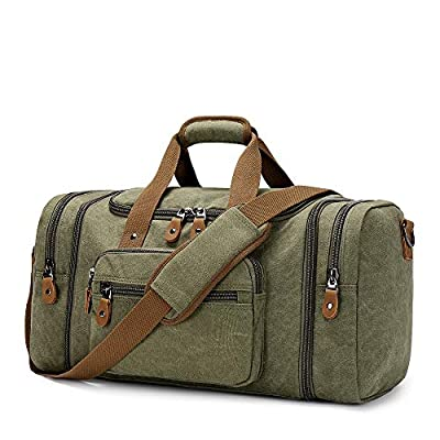 Plambag Canvas Duffle Bag for Travel, 50L Duffel Overnight Weekend Bag(Army Green)