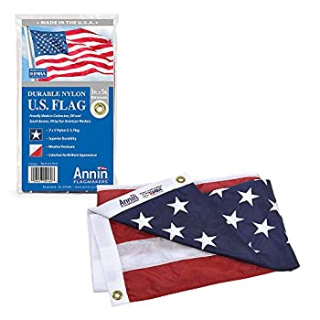 Annin Flagmakers Model 2460 American Flag Nylon SolarGuard NYL-Glo 3x5 ft 100% Made in USA with Sewn Stripes Embroidered Stars and Brass Grommets