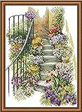 Kit de Punto de Cruz contado, Momenten - Punto de cruz/Escaleras de flores / 33 x 45cm