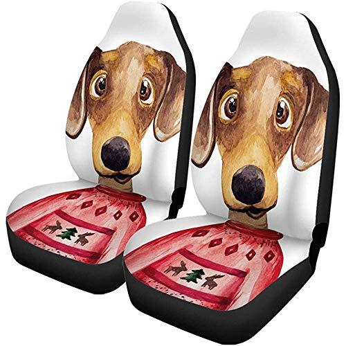 Autostoelhoezen Aquarel tekkel hond in trui Chinese New Year set van 2 auto accessoires beschermers car decor fit voor auto vrachtwagens
