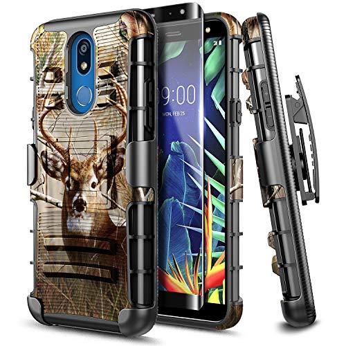 E-Began LG K40 Case, LG Solo LTE / K12 Plus/ LG X4 (2019) with Tempered Glass Screen Protector [Full Coverage] Belt Clip Holster Kickstand Heavy Duty Armor Defender Shockproof Rugged Case -Deer