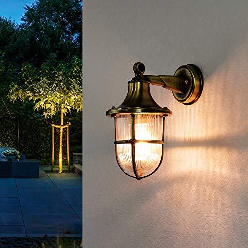 *Außenleuchte Wand echtes Messing Glasschirm rostfrei rustikal E27 Außenwandleuchte Haus Hof Balkon Terrasse*
