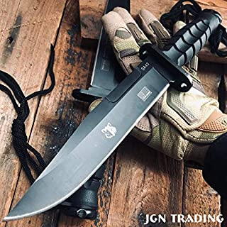 """JGN Trading 11.8"""""""" Black Military Tactical Survival Fixed Blade Knife Bayonet Bushcraft Combat Hunting Knives Bowie Dagger W/Sheath"""