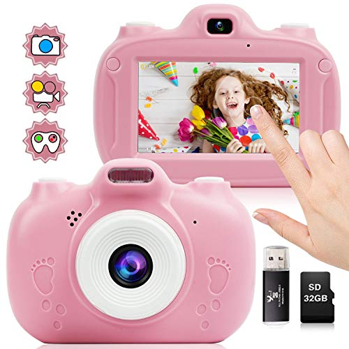 seanme Kids Camera, 3inch Touch Screen Digital Camera, Dual Lens Child Video Camcorder, Ideal Toy for Aged 3 4 5 6 7 8, Professional Children Camera with 32GB TF Card & Card Reader(Pink)