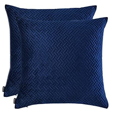 Artcest Set of 2, Decorative Velvet Bed Throw Pillow Case, Sofa Soft Quilted Pattern, Comfortable Couch Cushion Cover, 18 x18  (Navy Blue)