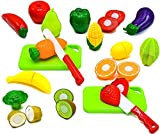 Little Treasures Fruit and Vegetables Play Kitchen Food for Pretend Cutting Food Toys