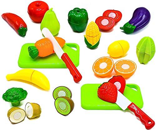 小珍品水果和蔬菜玩厨房食品假装切割食品玩具 - 有玩具刀,切菜板的教育玩具集(36个总碎片)