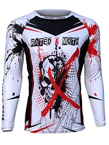 Rated X Moto Xtreme Skull Men's Jersey Motocross Red/White MX, ATV, Dirt Bike X-Pro Series (2XL)