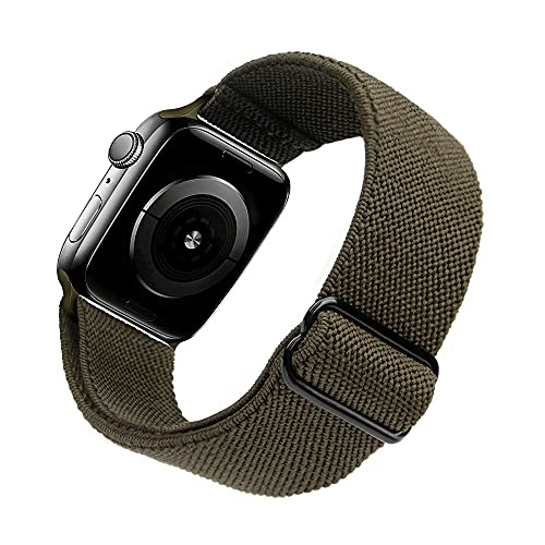 Arae Stretchy Nylon Watch Band Compatible with Apple Watch Series 6 5 4 SE 44mm 40mm and Series 3 2 1 42mm 38mm Adjustable Solo Loop Sport Elastic Watch Band Strap -Olive Green, 42/44mm