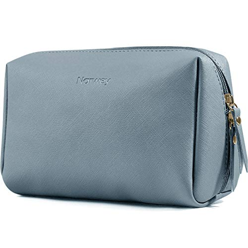 Large Vegan Leather Makeup Bag Zipper Pouch Travel Cosmetic Organizer for Women and Girls (Large, Greyish Blue)