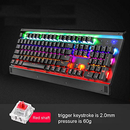 Mechanical Keyboard Black/Green/Tea/Red/Silver Shaft Game Dedicated Computer Keyboard, Alloy Panel with Mechanical and ABS Resin Two-Color Keycap for PC/Computer/Desktop (Color : Red Shaft)