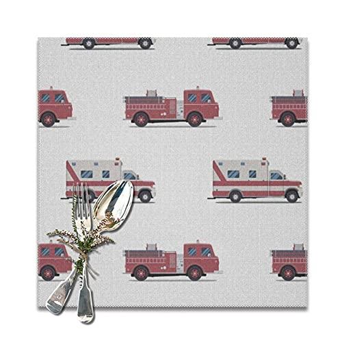 ZORMIEY Salvamanteles Mantel Individual,Patrón de los vehículos de Rescate y Seguridad de Seguridad de vehículos de Bomberos y ambulancias,Mantel Individual Antideslizante y Resistente al Calor
