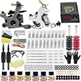 Romlon Complete Tattoo Kit Starter Beginners Tattoo Power Supply Kit 2 Pro Tattoo Machine Guns Power Supply 7 Tattoo Inks 20 Tattoo Needles Tattoo Accessices Tattoo Machine Kit for Liner and Shader