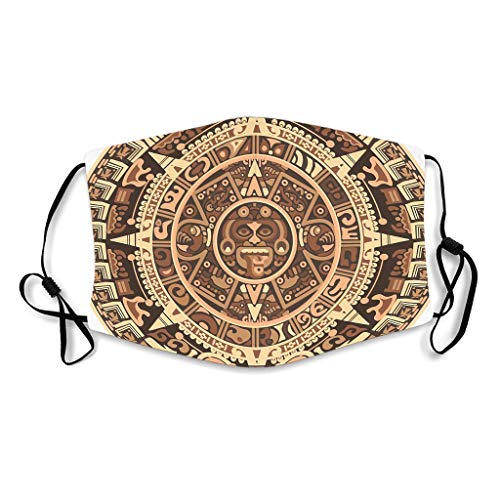 KittyliNO5 Braun Ägypten Indien Maya Medaillon Gesichtsbedeckung Staubschutz Mund-Muffel für Unisex Adult White with 15 Filters