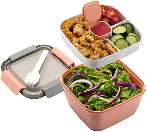 Freshmage Salad Lunch Container To Go 52 oz Salad Bowls with 3 Compartments Salad Dressings product image