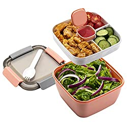 in budget affordable Freshmage To Go Salad Lunch Box, 52 oz 3 Compartment Salad Bowl, Salad Dressing …