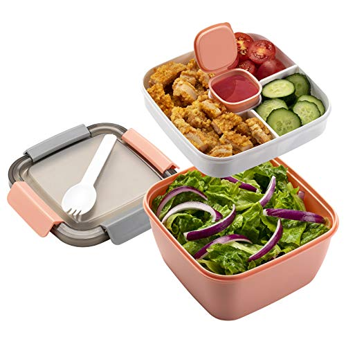 Freshmage Salad Lunch Container To Go, 52-oz Salad Bowls with 3 Compartments, Salad Dressings Container for Salad Toppings, Snacks, Men, Women (Pink)