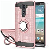 YmhxcY Phone Case Compatible with G3 Case with HD Phone Screen Protector,360 Degree Rotating Ring & Bracket Dual Layer Resistant Back Cover for G3 2014-ZH Rose Gold