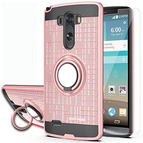 LG G3 Phone Case with HD Phone Screen Protector,Ymhxcy 360 Degree Rotating Ring & Bracket Dual Layer Resistant Back Cover for LG G3 2014-ZH Rose Gold