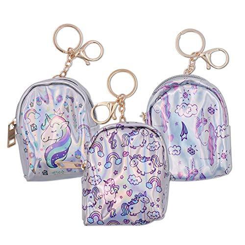 3 pcs Monedero Unicornio Mini, Unicornio Mini Cartera Tarjeta Titular de la Clave Monedero Zip Monedero Niñas