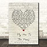 Fly Me to The Moon Script Heart Song Lyric Gift Present Poster Print