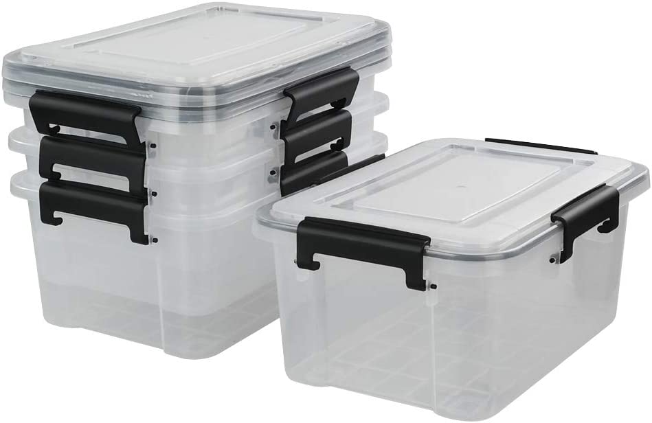 AnnkkyUS trend rank 4-pack 10 Liter All items in the store Clear Storage Boxes Plastic Boxe Latch