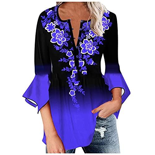 Leedy, maglietta con scollo a V, a maniche lunghe, con bottone, per donna, casual, sportswear, Blu, XXL