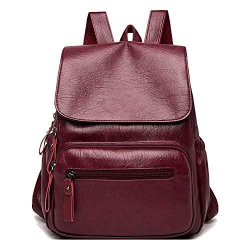 TEBIEAI Women's Backpack Handbags Ladies Rucksack Shoulder Bags PU Leather Mini Anti-theft Dayback TEUK83106 Burgundy
