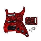 Alnicov Placa de protección para golpeador de surf cargada con pastilla SSH para guitarra eléctrica, perla roja