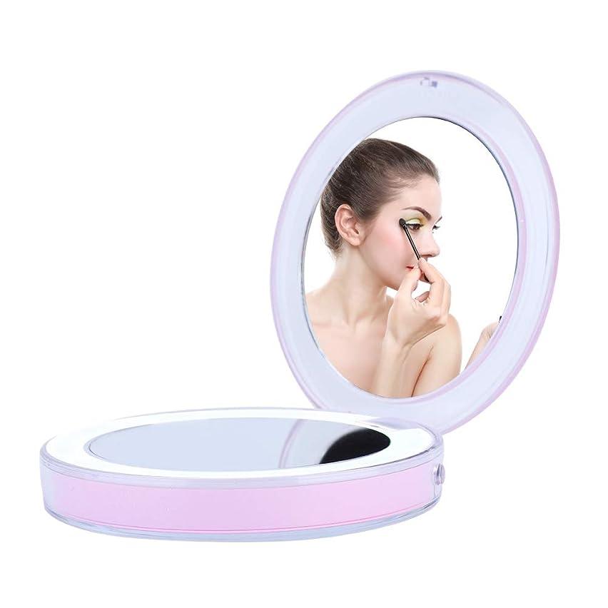 取り扱い十代の若者たち冷蔵する3倍 拡大鏡付き ポータブル LED化粧鏡 タッチ操作 USB充電 化粧鏡