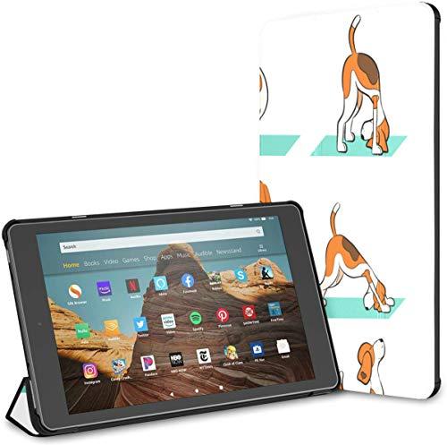 Funda para Perro Divertido Beagle Doing Yoga Fire HD 10 Tablet (9a / 7a generación, versión 2019/2017) Funda Impermeable para Kindle Fundas Kindle Fire HD 10 Auto Wake/Sleep para Tableta d