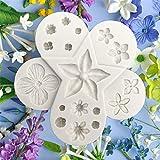 kapokilly Molde de Silicona con Forma de Flor, Molde Fondant Cupcake DIY Polymer Clay Epoxy Molde...