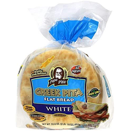 Greek Pita Flat Bread White, 12 ct (each bag) NON GMO Vegan Friendly 2 Bags