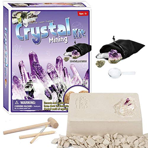 Lethe Gemstone Dig Kit ? Excavate 5 Real Gems Including Amethyst, Citrine Point & Gypsum Rosette - Great STEM Science Gift for Mineralogy and Geology Enthusiasts of Any Age