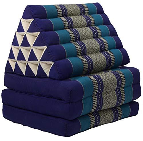 Fine Asianliving Thaikissen Dreieckskissen 3 Auflagen Kapokfüllung XL Meerblau Thai Kissen Meditation Matte Matratze Kapok 301-J07