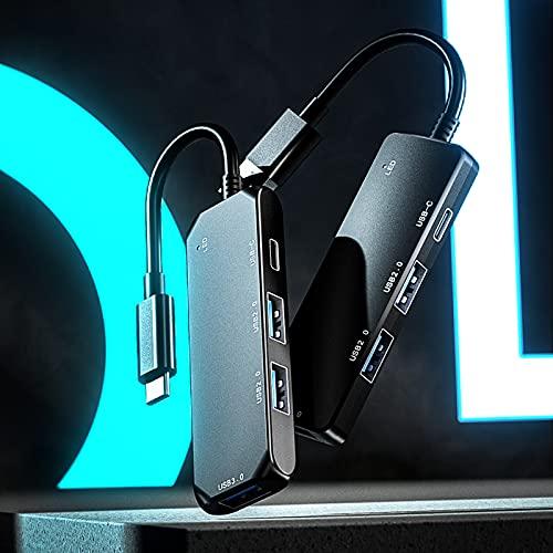 Monnadu Ultra Slim USB 3.0 Data Hub - Expansion Dock 4 en 1 Transmisión de Alta Velocidad Anti-Interferencia Plug Play para Teléfono Móvil PC Portátil Negro-USB