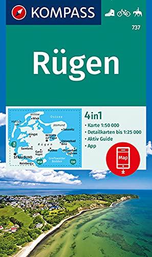 KOMPASS Wanderkarte Rügen: 4in1 Wanderkarte 1:50000 mit Aktiv Guide und Detailkarten inklusive Karte zur offline Verwendung in der KOMPASS-App. Fahrradfahren. Reiten. (KOMPASS-Wanderkarten, Band 737)