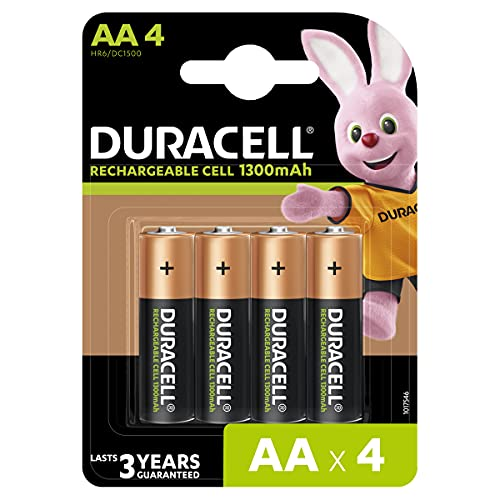 Duracell Rechargeable AA 1300mAh Batteries, Pack of 4