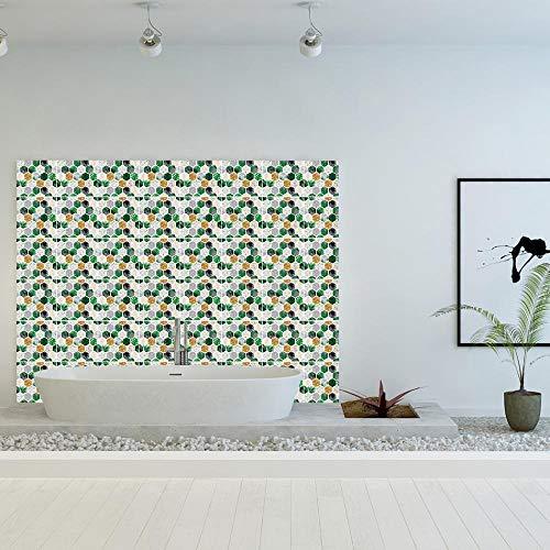 Master_GGGGG azulejos adhesivos cocina Verde hexagonal Baño Pegatinas de Baldosas Sticker PVC Decorativos 20 cm X 20 cm