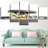 5 Cuadro en lienzo 5 fotos juntas en una sala de estar dormitorio creativo murales decorativos y carteles(Sin marco) Tapa de alcantarilla de dibujos animados de Minions amarillos de película