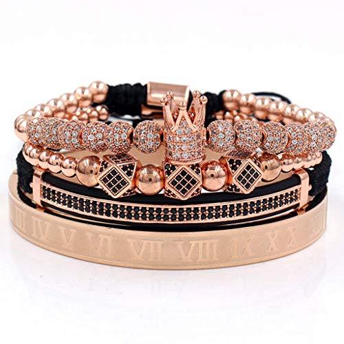 Pulsera, Imperial Crown King Pulsera Luxury Charm Numeral Romano CZ Kit de pulsera de circón - Oro rosa