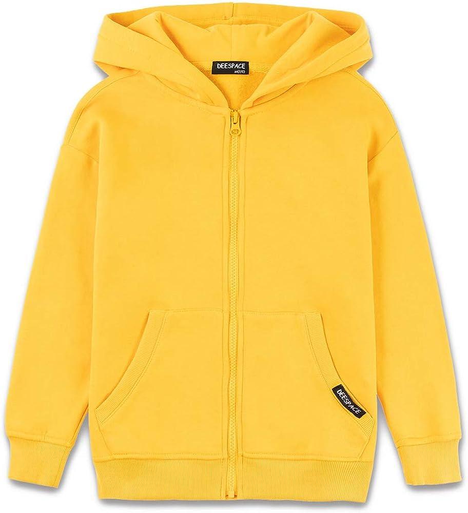 DEESPACE Max 43% Oakland Mall OFF Kids Soft Brushed Fleece with Sweatshirt Zi Hooded Full